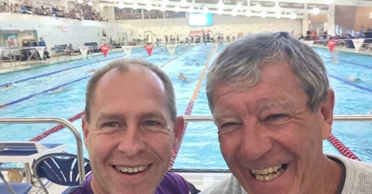 Michael Peyrebrune, left, with Ian Turner, courtesy of Michael Peyrebrune