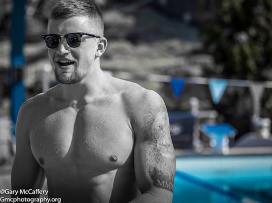 Reaching beyond the blue of his lane into the black and white of life and its bigger issues: Adam Peaty - snapped by Gary McCaffery on a training camp in Tenerife - courtesy of Gmcphotography.org