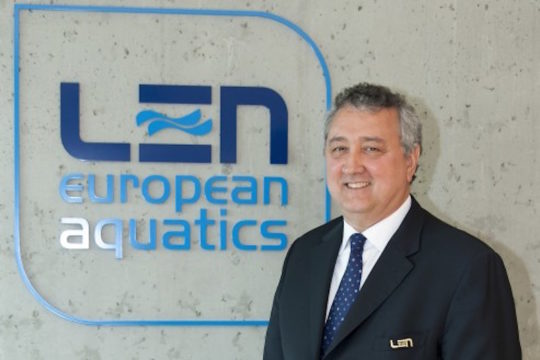 Paolo Barelli LEN president at the opening of the Nyon offices - Photo courtesy of Giorgio Scala/Deepbluemedia