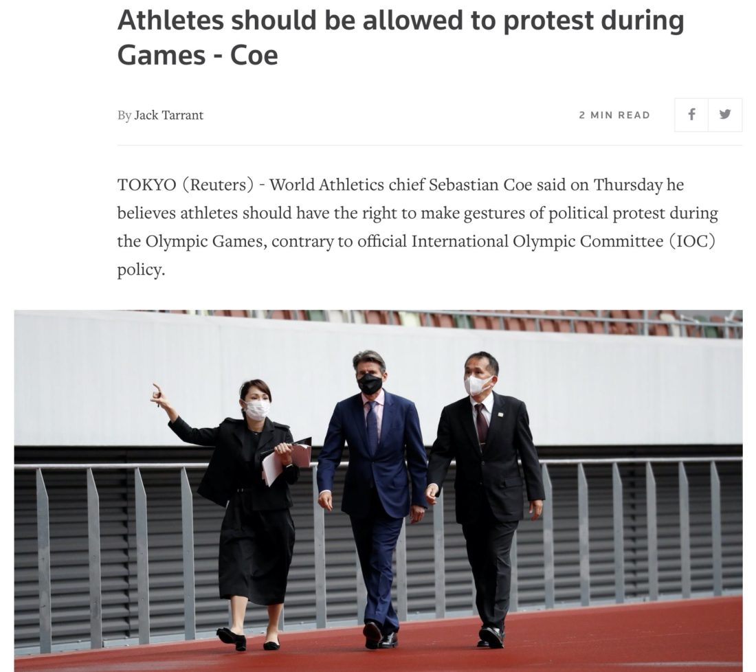 How Reuters reported the news of Lord Coe's stance on athlete protests: ragout courtesy of Reuters, showing Sebastian Coe, World Athletics president, flanked by Tokyo 2020 officials on a site visit in the Japanese capital