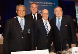 The FINA Executive, 2016  (l-r) Pipat Paniangvait, Paolo Barelli, Julio Maglione and director Cornel Marculescu