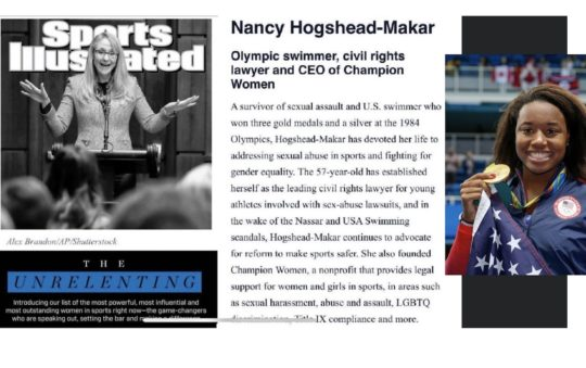Nancy Hogshead-Makar and Simone Manuel have been recognised by Sports Illustrated as xxx - images, Hogshead-Makar ragout, courtesy of SI, and, Manuel, courtesy of Patrick B Kraemer