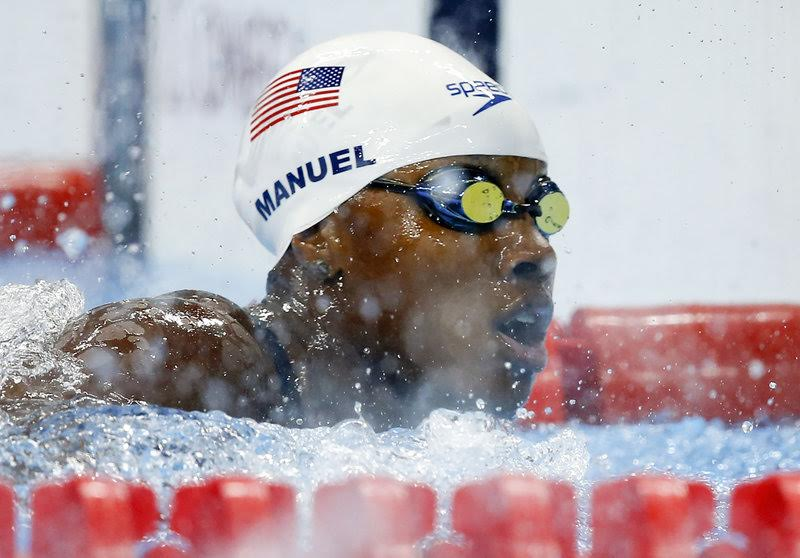 Simone MANUEL of the United States of America (USA) competes in the women's 100m Freestyle Heats