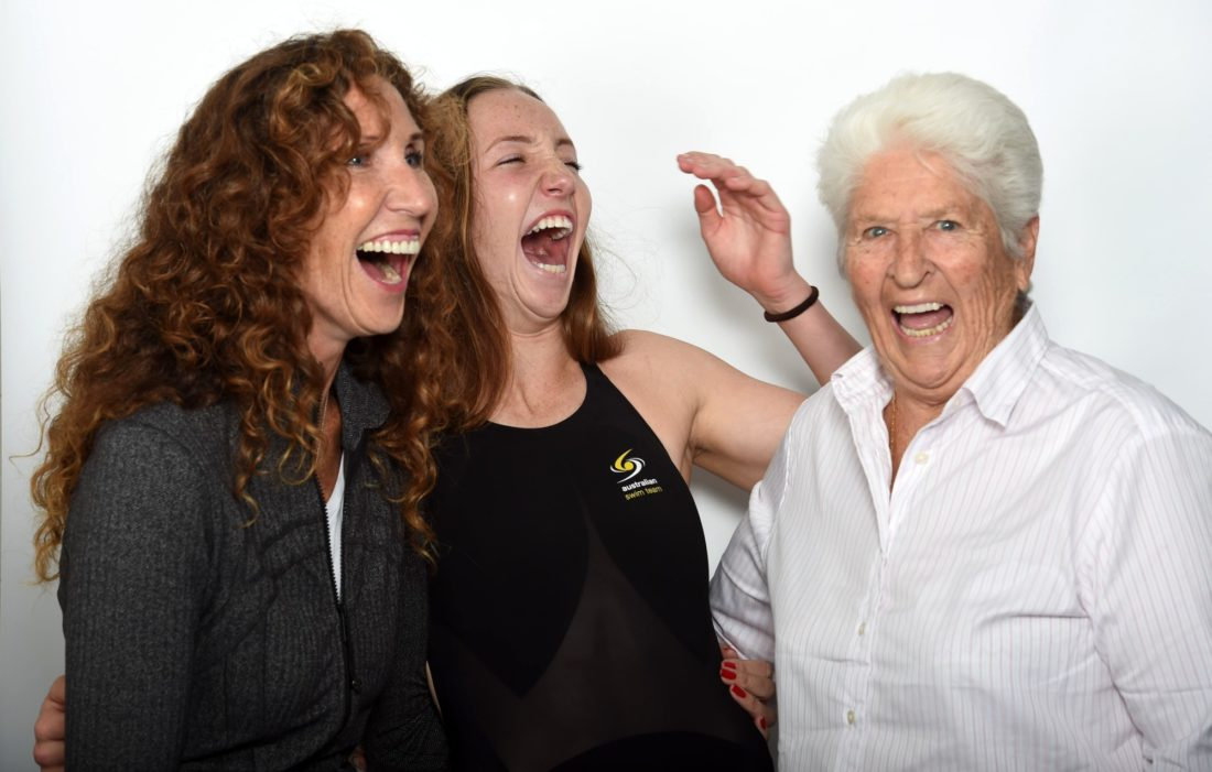 Janelle Elford, her daughter Lani Pallister and Olympic legend Dawn Fraser, by Delly Carr, courtesy of Swimming Australia
