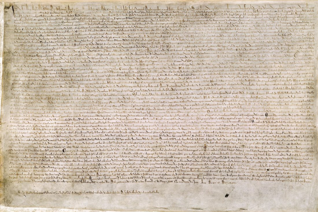 Magna Carta - British Library - Cotton MS. Augustus II. 106: one of only four surviving exemplifications of the 1215 text - courtesy of British Library/Wikipedia