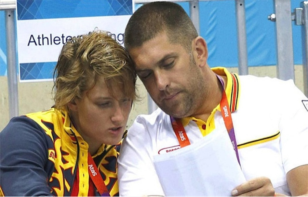 Mireia Belmonte and coach Fred Vergnoux