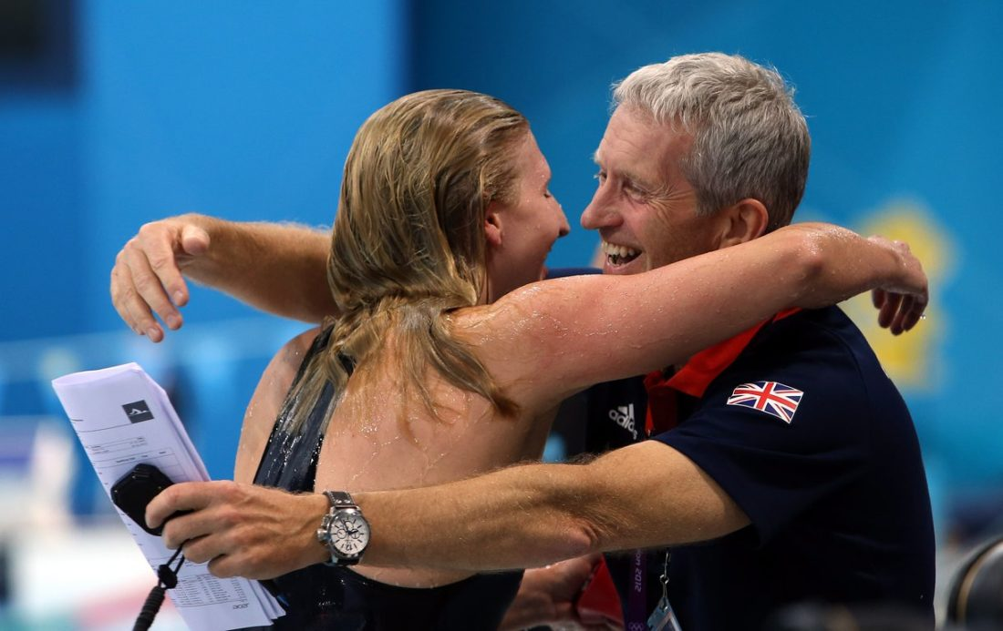 Rebecca Adlington and coach Bill Furniss - double gold at Beijing 2008 - courtesy of British Swimming