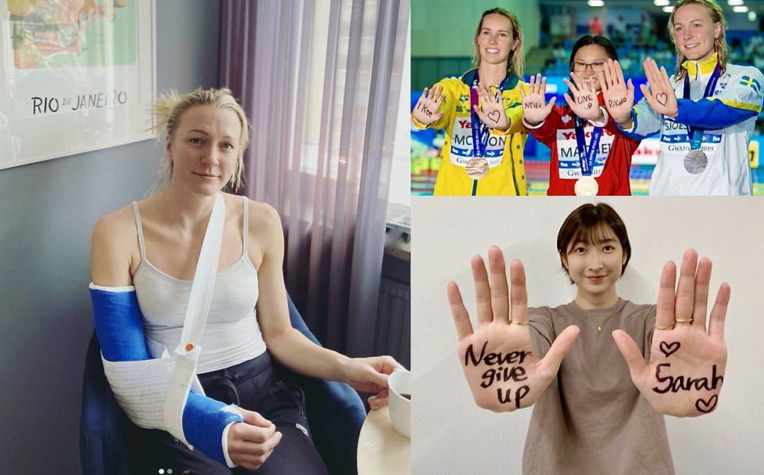 Sarah Sjostrom nurses a broken elbow after a fall on the ice; top right, sending a message to Rikako Ikee, with Maggie McNeil and Emma McKeon on the podium at World titles in 2019; and, Rikako Ikee, sending a message back...(Images, courtesy of Sarah Sjostrom and Roikako Ikee, Instagram; and Patrick B. Kraemer, on the podium)