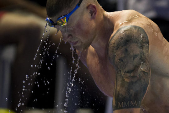 Adam Peaty of Great Britain on his way out after competing in the men's 50m Breaststroke Semifinal during the 19th LEN European Short Course Swimming Championships held at the Royal Arena in Copenhagen, Denmark, Wednesday, Dec. 13, 2017. (Photo by Patrick B. Kraemer / MAGICPBK)