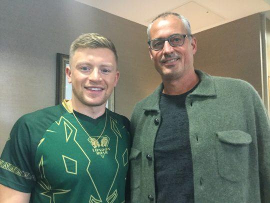 Matt Biondi, the director of the Athletes' Union, with Adam Peaty in London - Photo Courtesy: Craig Lord