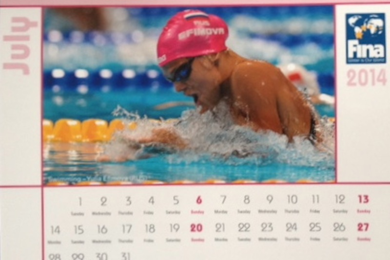 Yuliya Efimova - July 2014 poster girl for the FINA calendar in the middle of a doping suspension period