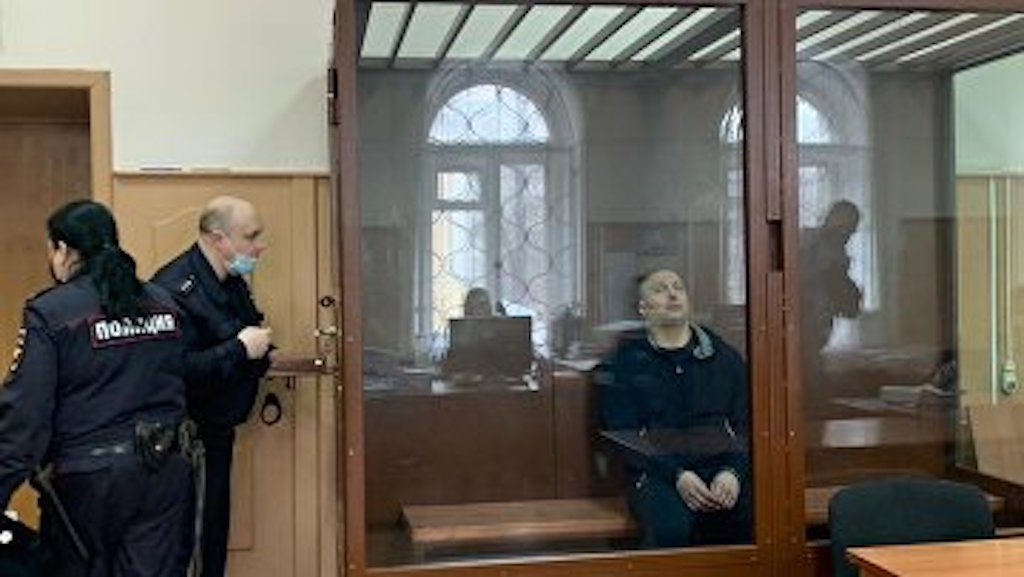 Alexei Vlasenko in a brief court appearance - courtesy of The press service of Moscow's Basmanny District Court