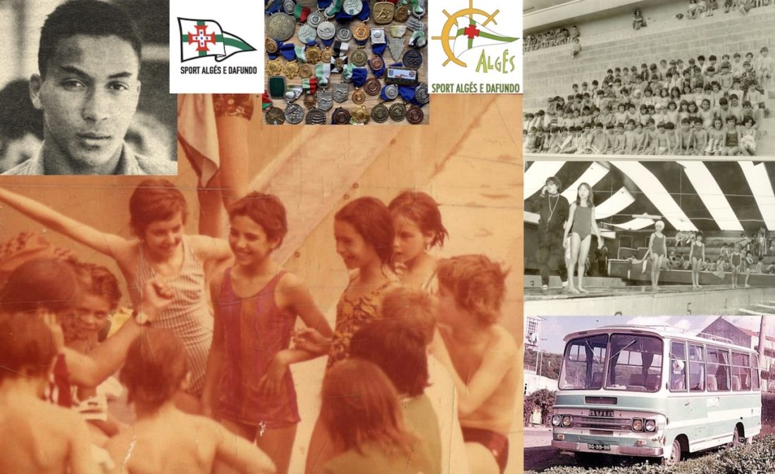 On the deck at Algés, where I spent long hours with swimming friends as a child; top left is Rui Abreu, whose story speaks to the depth and complexity of a human crisis both old and contemporary - Photos Courtesy: Craig Lord and the 'antigos alunos do sport algés e dafundo' Facebook community