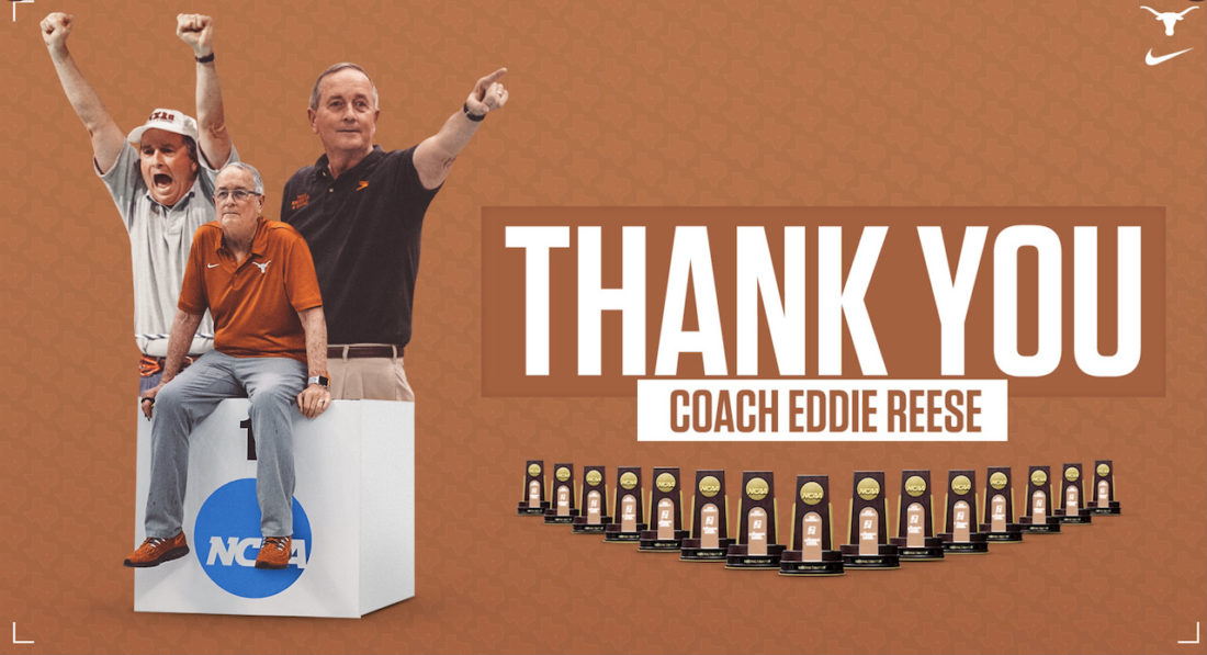 Eddie Reese - the podium of praise is not tall enough to stop the tidal wave of plaudits washing over him - image, courtesy of the University of Texas, Longhorns