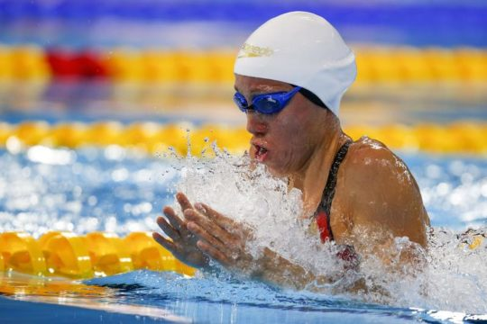 Jessica Vall competes in the women's 200m Breaststroke Heats during the 13th FINA Short Course World Swimming Championships at WFCU Centre in Windsor, Ontario, Canada, 11 December 2016.