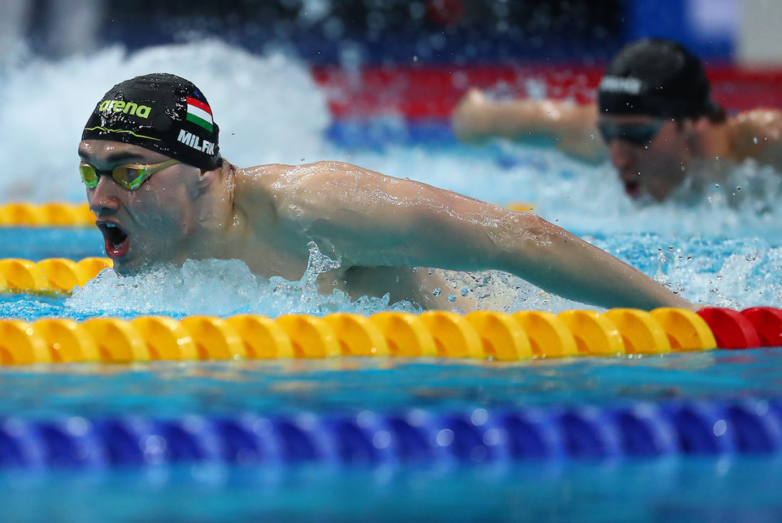 Kristóf Milák racing in Budapest at nationals today (Courtesy - Hungarian Swimming Federation)