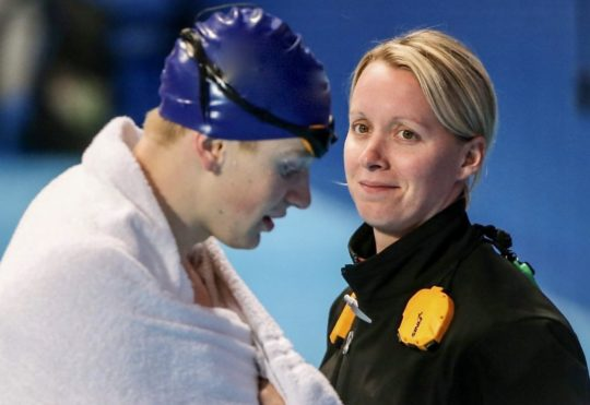 Mel Marshall with her charge Adam Peaty - courtesy of Mel Marshall