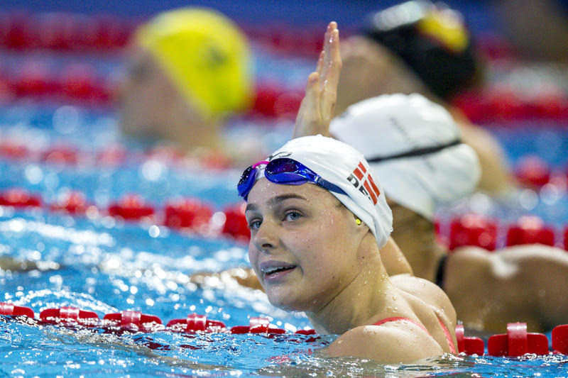 Pernille Blume of Denmark reacts after competing in the women's 50m Freestyle Heats during the 19th LEN European Short Course Swimming Championships held at the Royal Arena in Copenhagen, Denmark, Sunday, Dec. 17, 2017. (Photo by Patrick B. Kraemer / MAGICPBK)