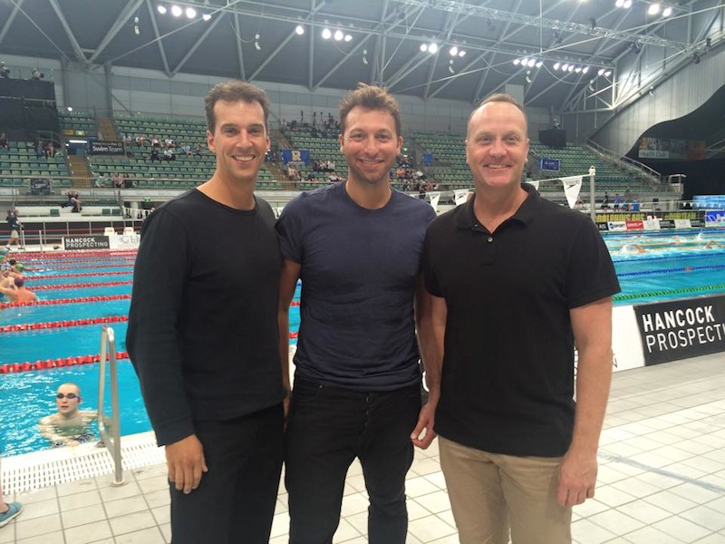 Reunited in 2015: (r-to-l) - Daniel Kowalski, Ian Thorpe and Matt Welsh, Sydney 2000 teammates and medal winners for Australia