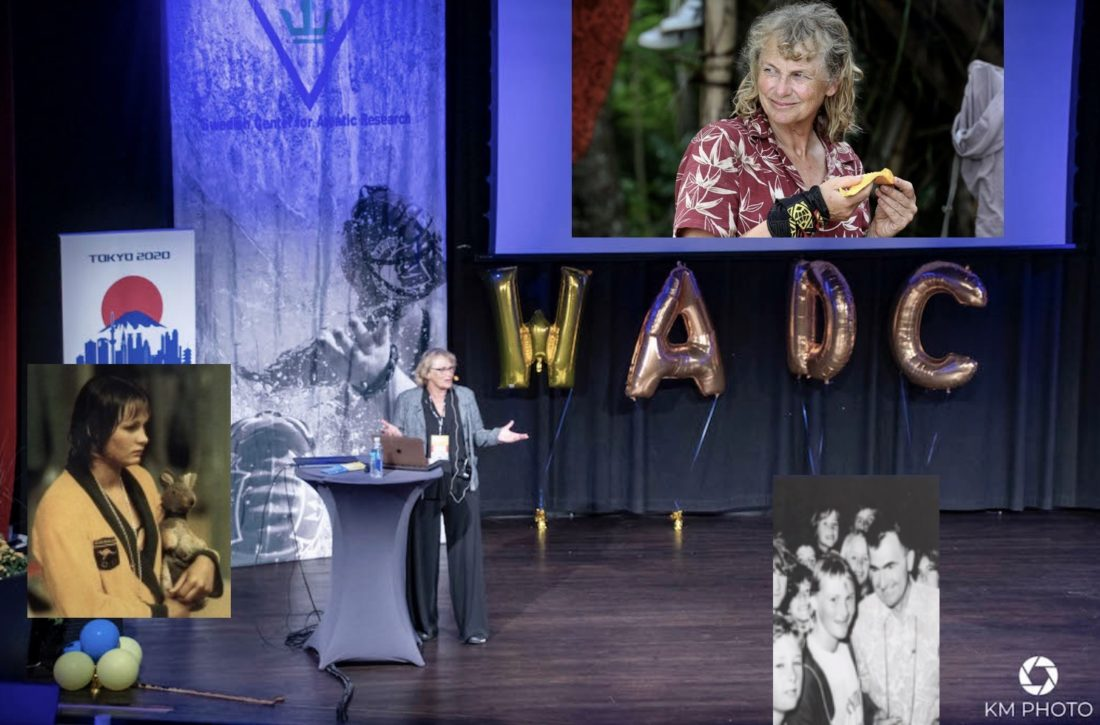 Shane Gould, then and now, as Olympic champion and Forbes Carlile pupil, champion Survivor and a leader, lived experience and a life of learning having led to a name change - Dr. Shane Gould
