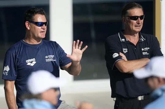 Alex Baumann, right, with head coach Rohan Taylor - by Deli Carr, courtesy of Swimming Australia