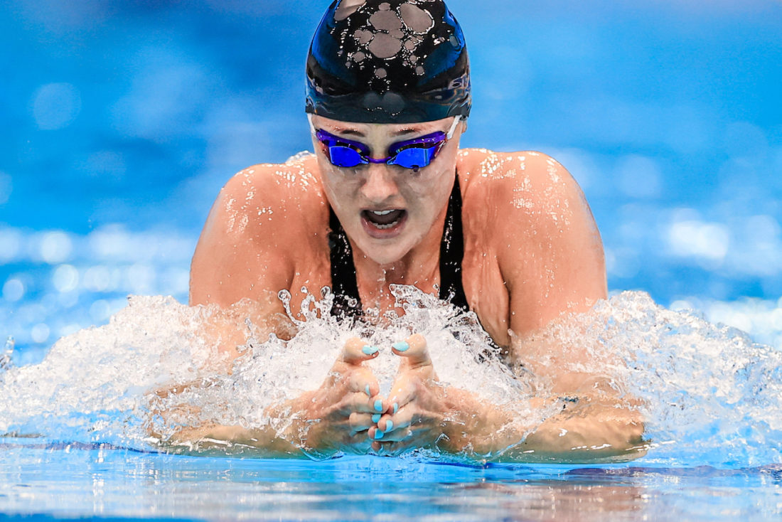 Molly Renshaw on her way to victory in British-record time and a ticket to the Tokyo Olympics - photo by Georgie Kerr, courtesy of British Swimming