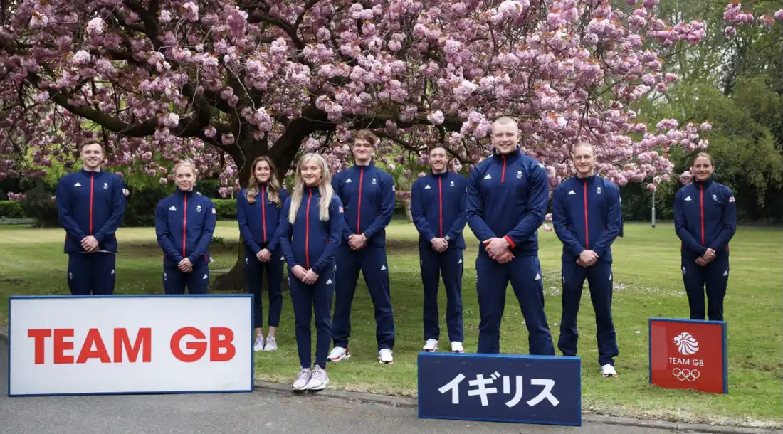 Team GB Olympic swim team for Tokyo 2020 - From left: Joe Litchfield, Anna Hopkin, Molly Renshaw, Abbie Wood, James WIlby, Max Litchfield, Adam Peaty, Luke Greenback and Sarah Vasey pose for an official photo to mark the official announcement of the Team GB swimming team for Tokyo. Photograph: Alex Pantling/Getty Images, courtesy of the British Olympic Association