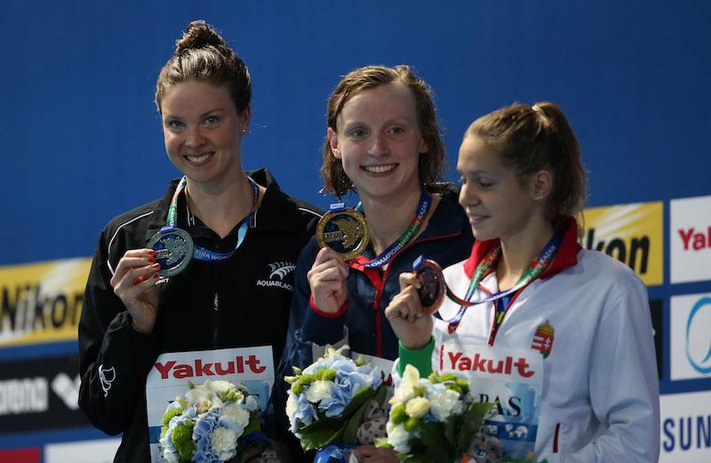 1500m podium at 2015 Worlds - (l-r) Lauren Boyle, Katie Ledecky and Boglárka Kapás - by Ian MacNicol