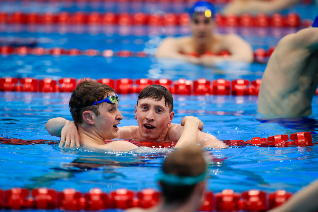 Max Litchfield and Brodie Williams celebrate racing inside the cut for the Tokyo Olympics - by Georgie Kerr, courtesy of British Swimming