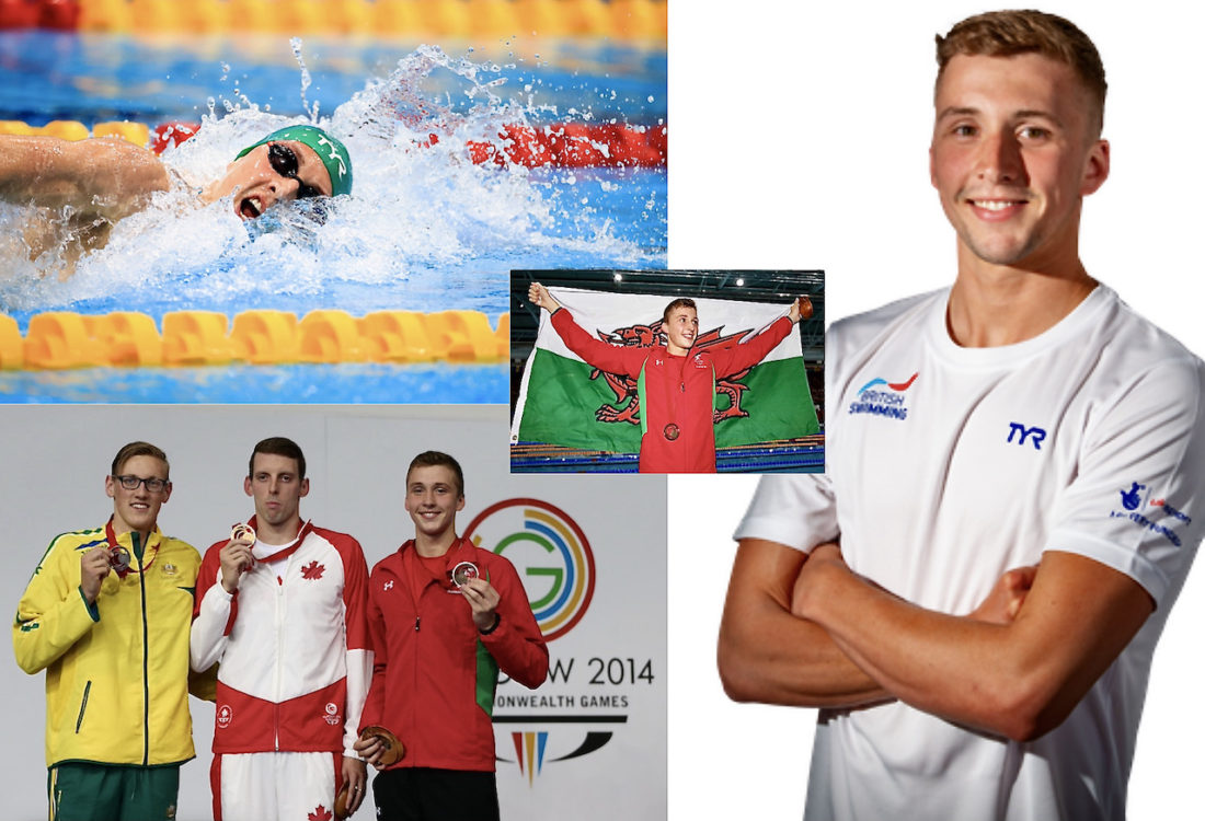 Dan Jervis has waited seven years for his Olympic selection - images, clockwise, in action this week, by Georgie Kerr/British Swimming; has official profile picture at British Swimming; on the podium with champion Ryan Cochrane, of Canada, and Australia's Mack Horton, at the 2014 Commonwealth Games in Glasgow and (centre) flying the Welsh Dragon - photos courtesy of Ian MacNicol