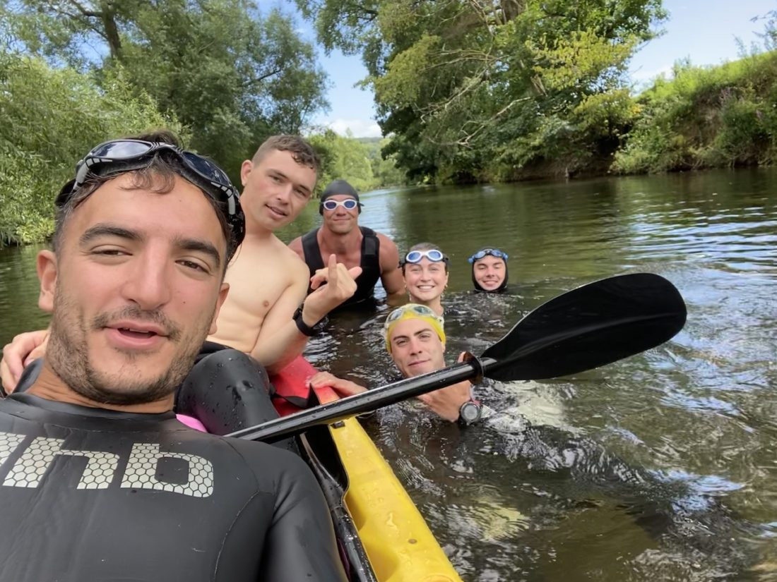 Tom's Fight - the Bath to Bristol crew: with Flo Jackson are  Óscar Richards, Adam Jamno, Tristán Trehan, Ed Reíd and Tomo Gearing