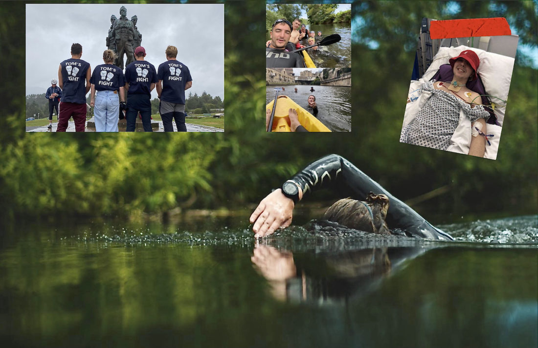 Florence Jackson (main image) has swum along way with five friends, top, left and centre) to raise awareness of and funds for Tom's Fight, the campaign to help Tom Lazarides, top right, through rehabilitation on on the road to recovery from a spinal injury sustained in a pool accident to independence