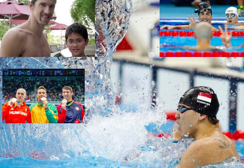 Joe Schooling, who played Jack To The Giants whose gold he 'stole' at Rio 2016 - images by Patrick B. Kraemer [inset, when Phelps met Schooling the schoolboy - courtesy of Joe Schooling social media)
