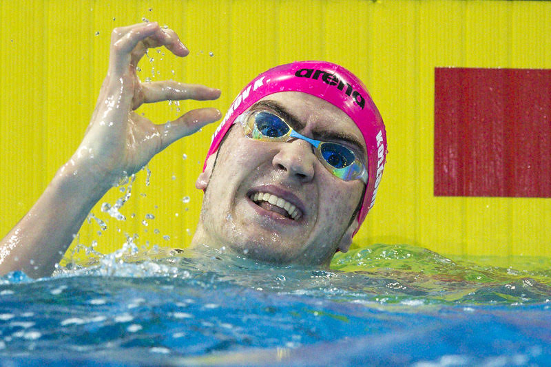Kliment kOLESNIKOV of Russia celebrates after winning in the men's 100m Backstroke Finall during the 19th LEN European Short Course Swimming Championships held at the Royal Arena in Copenhagen, Denmark, Friday, Dec. 15, 2017.